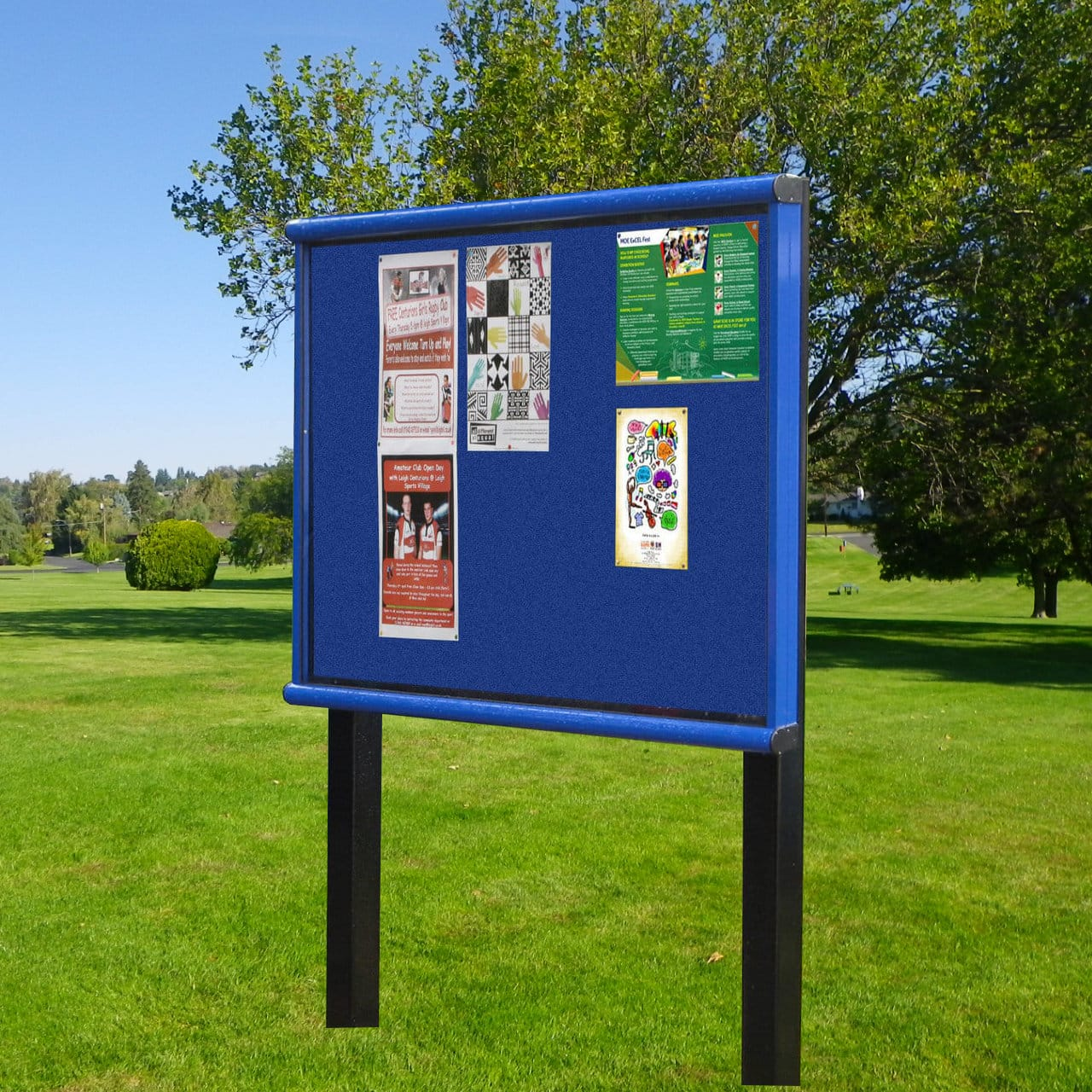 scroll post mounted outdoor noticeboard colour frame noticeboards online