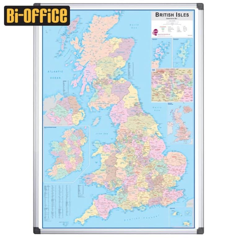 Bi-Office Laminated British Administrative Map with Drywipe Surface