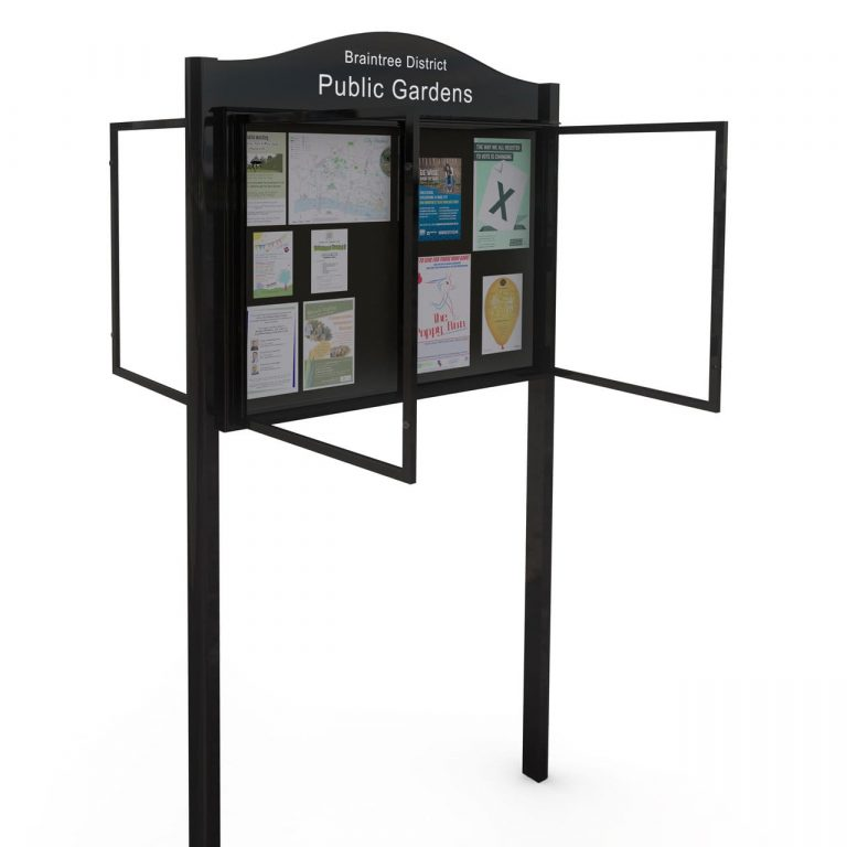 External Double Sided Double Door Post Mounted Lynester Noticeboard