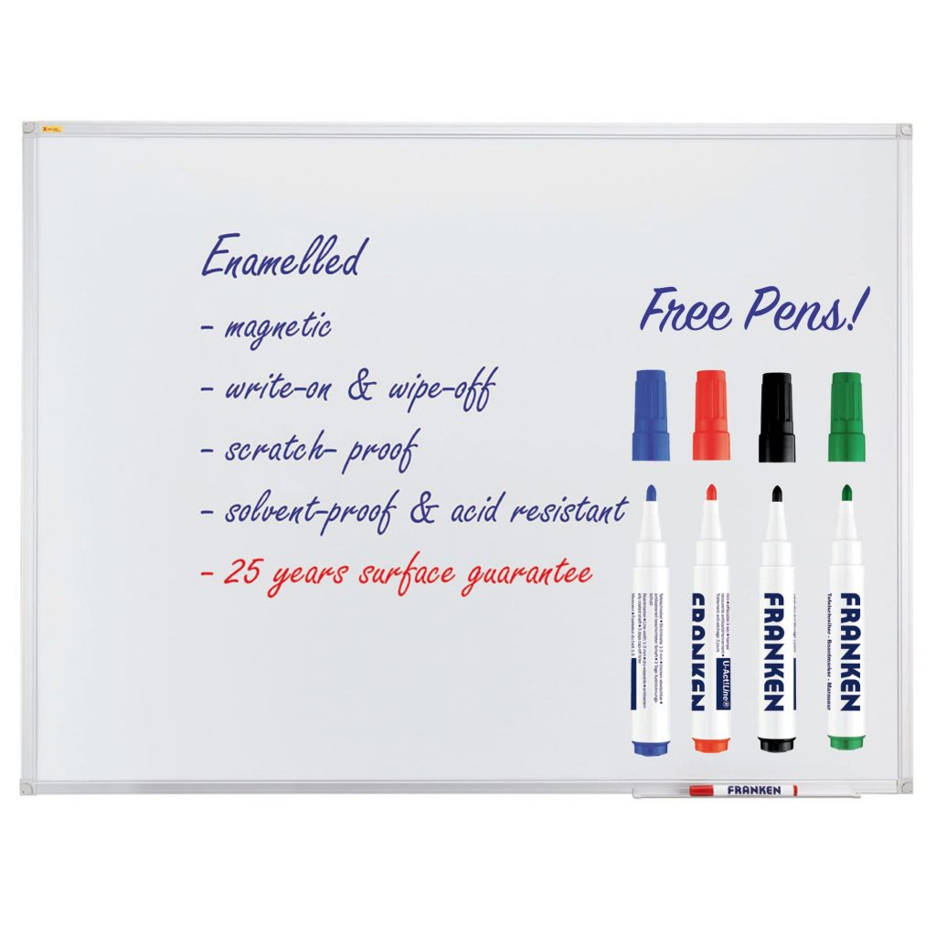 Enamel Magnetic Whiteboard With Pen Tray - Free Pens