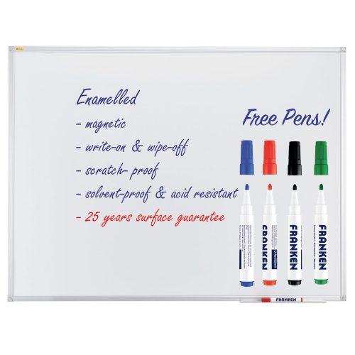 Enamel Magnetic Whiteboard With Pen Tray - Free Pens