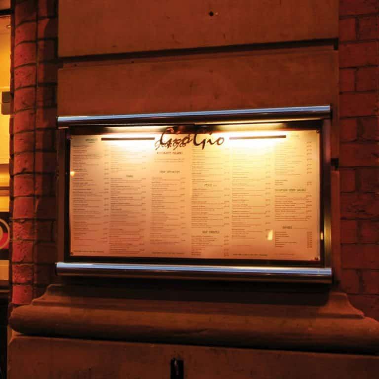 Wall Mounted Exterior Hospitality Restaurant Menu Case