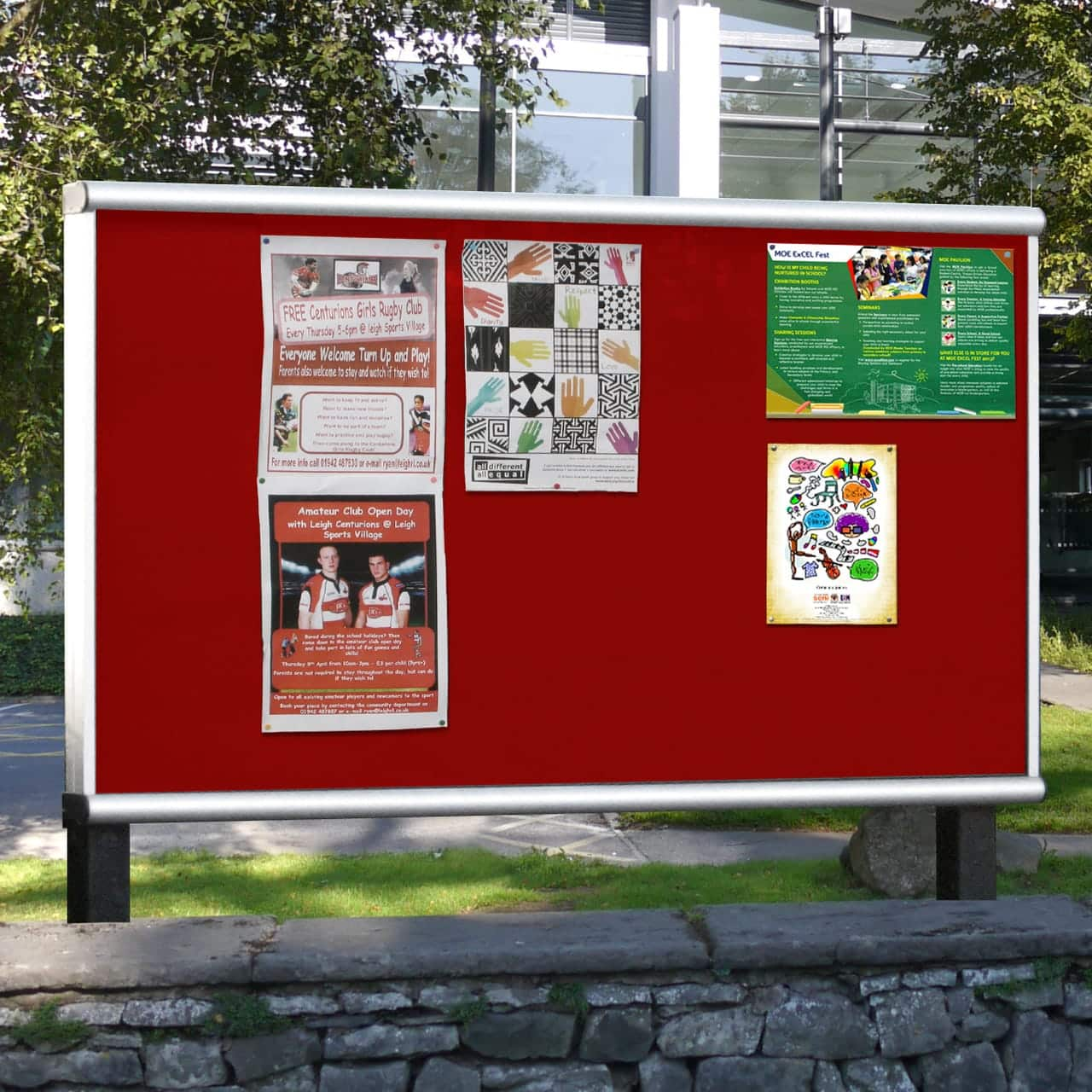 Scroll Post Mounted Outdoor Noticeboard