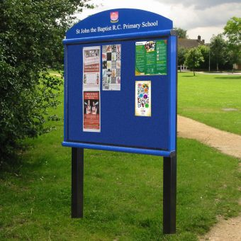 Scroll Post Mounted Outdoor Noticeboard With Header (Colour Frame)